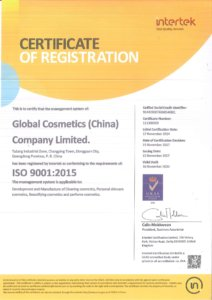 Global-Cosmetics-Company-Certification -ISO9001